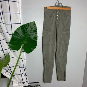 American Eagle Green Hi Rise Cargo Jeggings